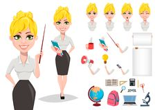 Cheerful female teacher character creation set. Happy teacher`s day. Blonde woman teacher, cute cartoon character, pack of body parts, emotions and various royalty free illustration