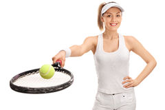 Cheerful female tennis player Stock Photography