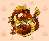 Cheerful fiery Chinese dragon on flame Royalty Free Stock Image