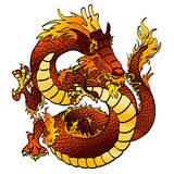Cheerful fiery Chinese dragon on white Stock Image