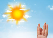 Cheerful finger smileys with bright sun and clouds illustration Stock Photography
