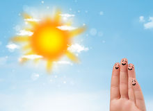 Cheerful finger smileys with bright sun and clouds illustration Stock Images