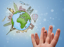 Cheerful finger smileys with famous landmarks of the globe Royalty Free Stock Image