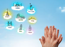Cheerful finger smileys with sightseeing landmarks icons Stock Photo