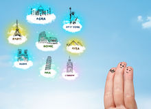 Cheerful finger smileys with sightseeing landmarks icons Royalty Free Stock Photos