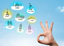 Cheerful finger smileys with sightseeing landmarks icons Stock Images