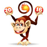 Cheerful Fire monkey. Symbol of 2016 year Fire Monkey.Cartoon illustration. Isolated on white Stock Images