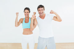 Cheerful fit couple clenching fists in fitness studio Stock Image