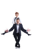 Cheerful flexible businessmen isolated on white Royalty Free Stock Photo