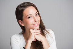 Cheerful friendly brunette. Stock Photography