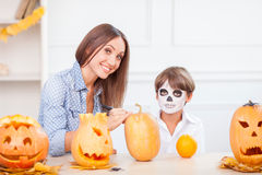 Cheerful friendly family is preparing for nut Stock Image