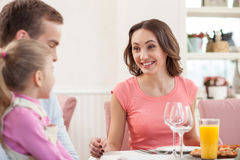 Cheerful friendly family is resting at restaurant Royalty Free Stock Photography