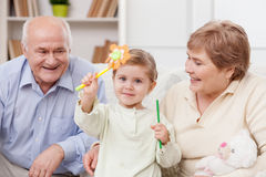 Cheerful friendly family is spending time together Royalty Free Stock Images