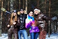 Cheerful friends stock photos