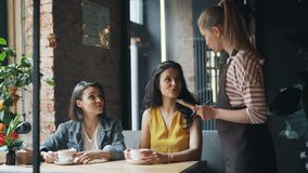 Cheerful friends chatting in cafe then talking to waitress in apron making order. Cheerful friends attractive young women are chatting in cafe then talking to stock footage