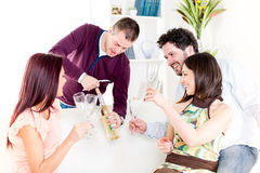 Cheerful friends drinking Wine Royalty Free Stock Photo