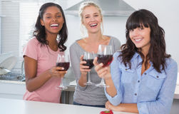 Cheerful friends enjoying glasses of red wine Stock Image