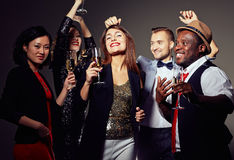 Cheerful Friends in Evening Wear Royalty Free Stock Photos
