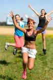 Cheerful friends jumping enjoy summer sport run. Ning sunny meadow Stock Image
