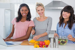 Cheerful friends making salad and using laptop for recipe lookin Stock Image