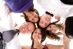 Cheerful friends over white Royalty Free Stock Photography