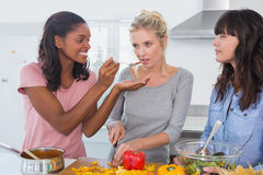 Cheerful friends preparing a meal together Royalty Free Stock Photos
