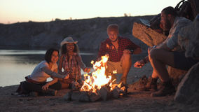 Cheerful friends relaxing around campfire. Group of multiracial people sitting around campfire grilling marshmallows and having fun on coast stock image