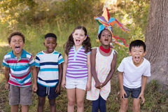 Cheerful friends screaming while standing on grassy field. Portrait of cheerful friends screaming while standing on grassy field at campsite Royalty Free Stock Images