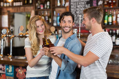 Cheerful friends toasting beer bottles at pub. Group of cheerful friends toasting beer bottles at pub Stock Image