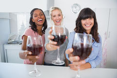 Cheerful friends toasting to the camera with glasses of red wine Stock Photography