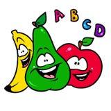 Cheerful fruit friends banana apple pear cartoon Royalty Free Stock Photo