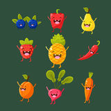 Cheerful fruit and vegetables. Food with cute Royalty Free Stock Images