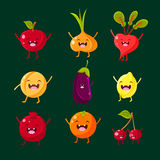 Cheerful fruit and vegetables. Food with cute Stock Photo