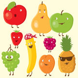 Cheerful fruits and berry. Vector drawing royalty free illustration