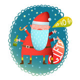 Cheerful Fun Monster crazy Santa Claus with gifts and bottle Christmas Greeting Card Royalty Free Stock Photos