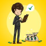 Businessman checking list, with money bags beside him. Cheerful and funny brown haired businessman, dressed in dark suit, aquamarine tie and brown shoes checking Royalty Free Stock Image