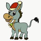 Cheerful funny donkey celebrating Christmas.  Stock Photo