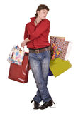 Cheerful funny happy shopping man. Royalty Free Stock Photo