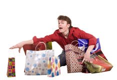 Cheerful funny happy shopping man. Royalty Free Stock Images