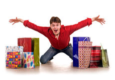 Cheerful funny  happy shopping man. Royalty Free Stock Photography