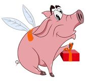 Cheerful funny pig with wings holds a gift. Vector illustration Stock Photography