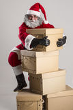 Cheerful funny traditional santa claus Stock Photography