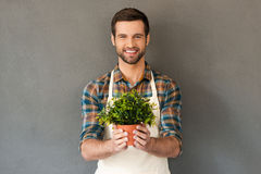 Cheerful gardener. Stock Image