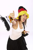 Cheerful German Soccer Fan Girl Stock Images