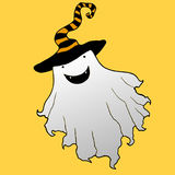 Cheerful ghost in a hat,artoon face,happy, crazy halloween isola. Ted.Vector hand drawn illustration.Color page for adults and children. Book, textile, print Stock Photo