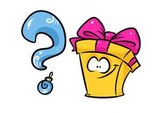 Cheerful gift question cartoon Royalty Free Stock Image