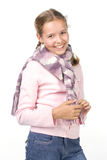 Cheerful girl. In a pink blouse with a scarf Stock Image