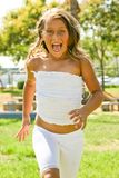 Cheerful girl in action Royalty Free Stock Photos