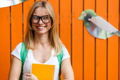 Cheerful girl amid Orange fence with birds Stock Photography