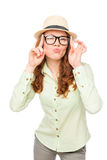 Cheerful girl ape on a white Royalty Free Stock Images